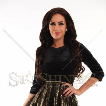 Rochie LaDonna Golden Flowers Black
