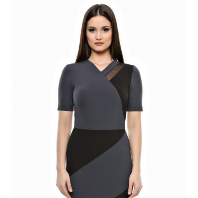 Rochie gri, Color Block, cu insertii din tulle, Emily G