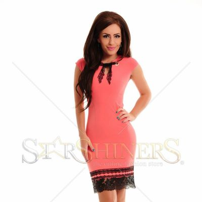 Rochie LaDonna Laced Bottom Coral