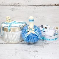 Set botez cutie hainute, lumanare biserica si trusou decor bleu It s a boy